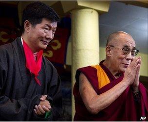 Lobsang Sangay (left) stands beside the Dalai Lama at his inauguration in Dharamsala, India, 8 August