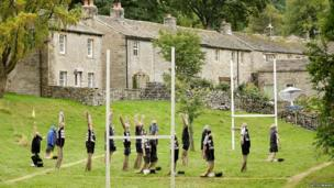 Scarecrow rugby team at the annual festival in Kettlewell.