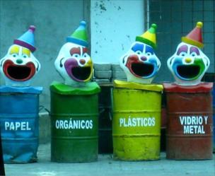 Waste recycling bins near the Amazon