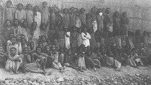 Ethiopian children, enslaved in Ethiopia, freed by the British navy arrive in Aden. Photo: University of Cape Town
