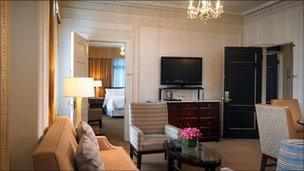 Suite at Westin St Francis Hotel where Arbuckle partied