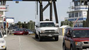 Cars from the small island of Ocracoke Island coming off a ferry