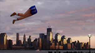 Kite is flown near the Hudson River at Hoboken in New Jersey on 28 August 2011