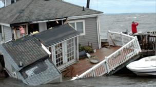 Half-submerged home in Pine Creek, Fairfield, Connecticut, after Tropical Storm Irene passed through on 28 August 2011