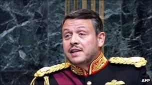 """King Abdullah II of Jordan giving """"speech from the throne"""" to parliament"""