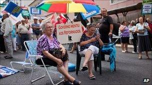 Pensioners protesting in Lisbon last week about the government's austerity measures