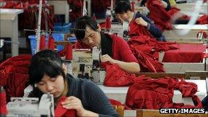 Workers in a garment factory in China