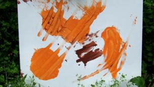 One of N'Dowe the lowland gorilla's paintings with organe paint.