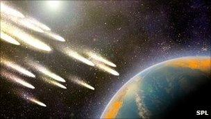 Meteorite bombardment and dating of planetary surfaces usa