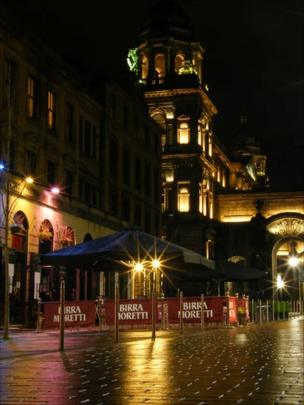Glasgow city centre at night