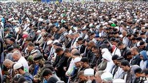 Funeral prayers in Summerfield Park