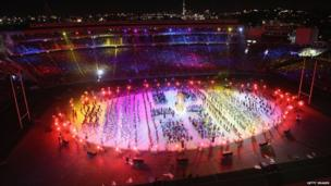 Hundreds of singers and dancers were in action at the event at Eden Park stadium in Auckland.