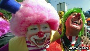 Clowns laughing