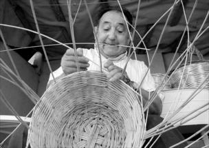 A man making a wicker basket