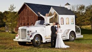 A fire truck converted into a wedding chapel