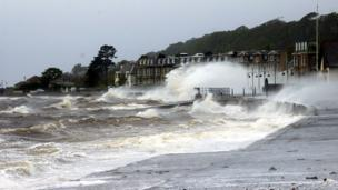 Waves breaking at Largs sea front
