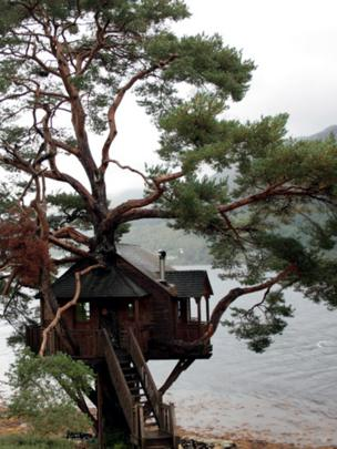Tree house by a loch