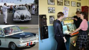A composite image of cars and people standing at a jukebox