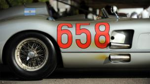 A close up of the side of a Mercedes-Benz racing car