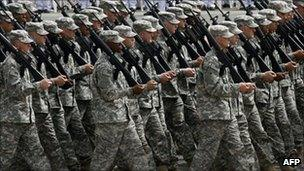 US Army soldiers on parade