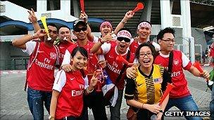 Arsenal fans in Malaysia attending one of the club's tour games in the summer of 2011