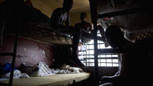 Prisoners on bunk beds in Liberia's Monrovia Central Prison - 2011