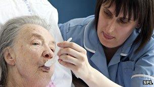 Geriatric care by healthcare assistant