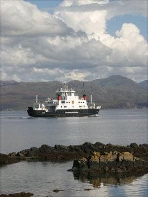 Caledonian MacBrayne's Coruisk ferry leaving Armadale on Skye for Mallaig on the mainland.