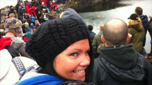Laura Clarke from Glasgow at the World Stone Skimming Championships at Easdale near Oban