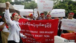 Burmese living in Malaysia shout slogans during a protest against the Myitsone dam project, near Burmese embassy in Kuala Lumpur on 22 Sept 11