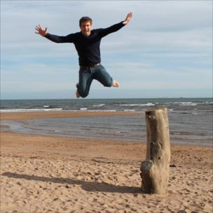 Calum Johnston on Donmouth Beach, Aberdeen