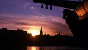 Sunset over Dundee with Frigate Unicorn in the foreground