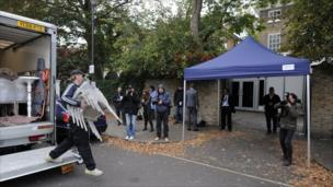 Temporary furniture is delivered to the north London home of former Beatle Paul McCartney on 8 October, 2011