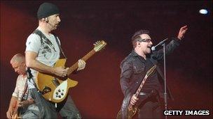 U2 performing