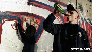 Youth drinking Buckfast tonic wine