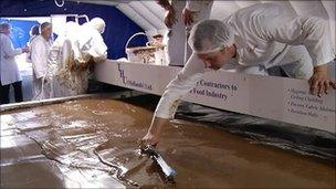 World's largest chocolate bar being created