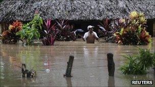 A flooded house in Santa Rosa, Chiquimulilla in Guatemala