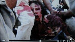 Mobile phone image alleged to be of Muammar Gaddafi - 20/10/11