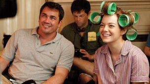 Emma Stone with director Tate Taylor
