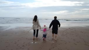 Paddling in sea at Carnoustie