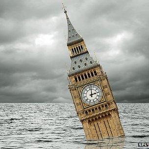 Conceptual image of Big Ben under water