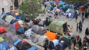 Protesters' tents outside the cathedral