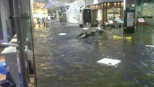 Dundrum shopping mall in Dublin was awash with flood water