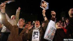 Human rights campaigners react on hearing the sentences