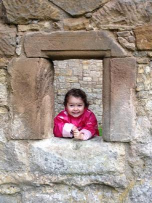 Alice at Craignethen Castle