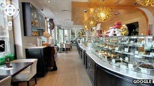 Google's Street View shows the interior of a chocolate shop