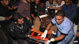 Wounded Palestinian taken to hospital in Rafah following evening Israeli air strike