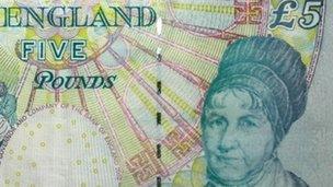 Elizabeth Fry on a £5 note