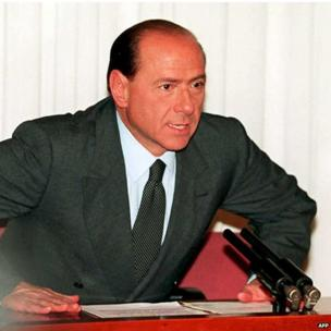 Silvio Berlusconi speaks to reporters in Rome after resigning as Italian prime minister, 22 December 1994