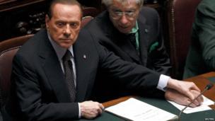 Silvio Berlusconi with Umberto Bossi in the Italian parliament, 8 November 2011